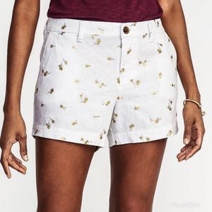 Old Navy | White Gold Palm Tree Print Linen Shorts